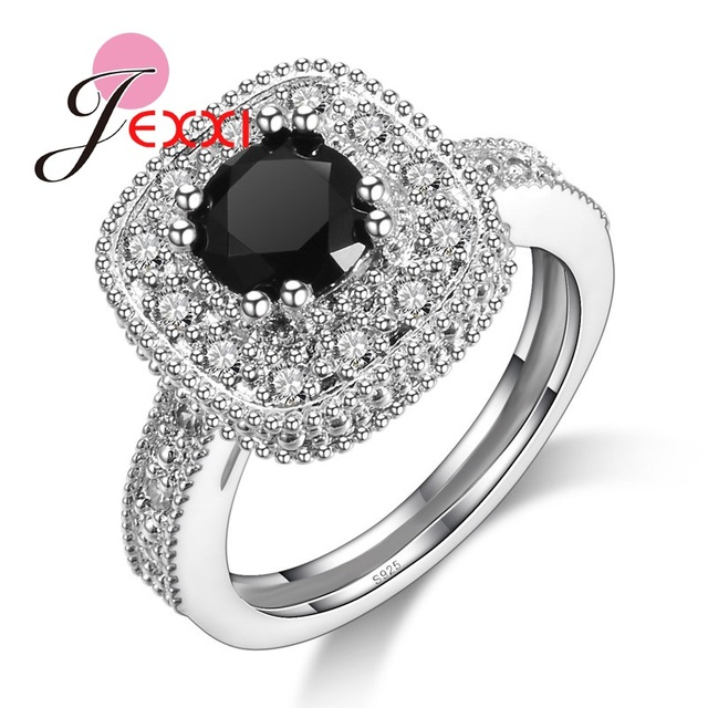 JEXXI Classic Square Clear White Rhinestone With Black Stone Wedding Rings  For Women S925 Stamped Silver