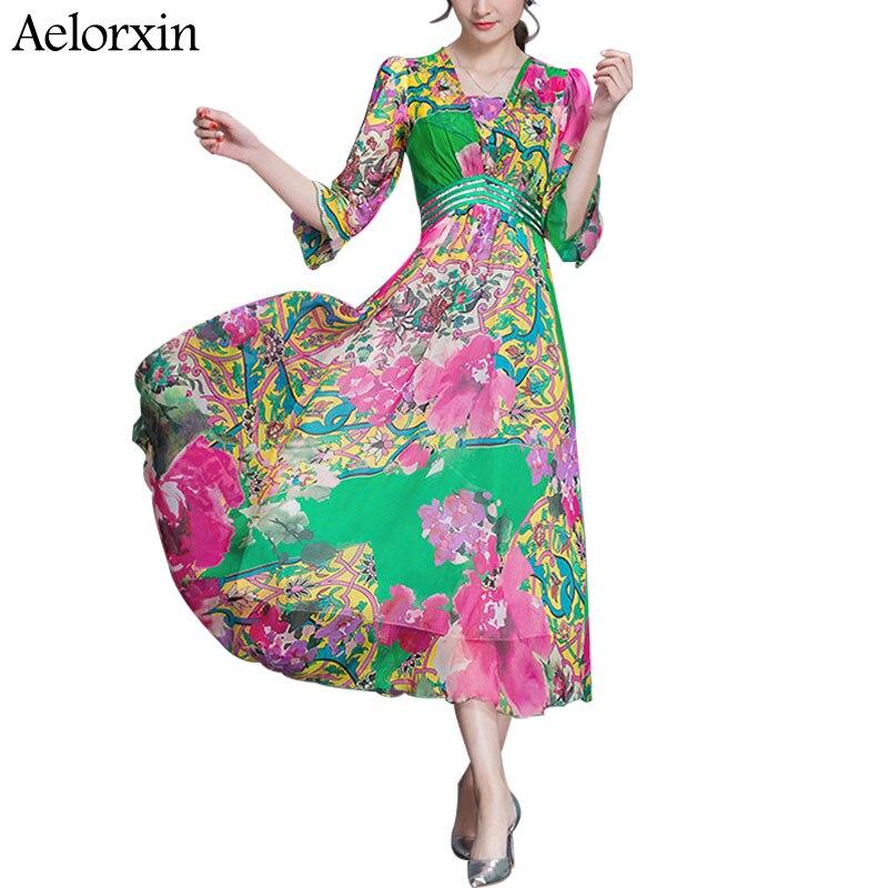 Buy Cheap aelorxin 2017 summer dress sexy Multicolor Floral Print Beach Wear Boho Maxi Dress Women half Sleeve strapless Neck Long Dress