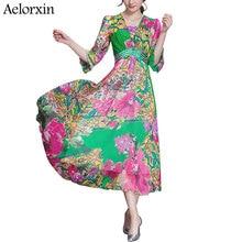 aelorxin 2017 summer dress sexy Multicolor Floral Print Beach Wear Boho Maxi Dress Women half Sleeve strapless Neck Long Dress