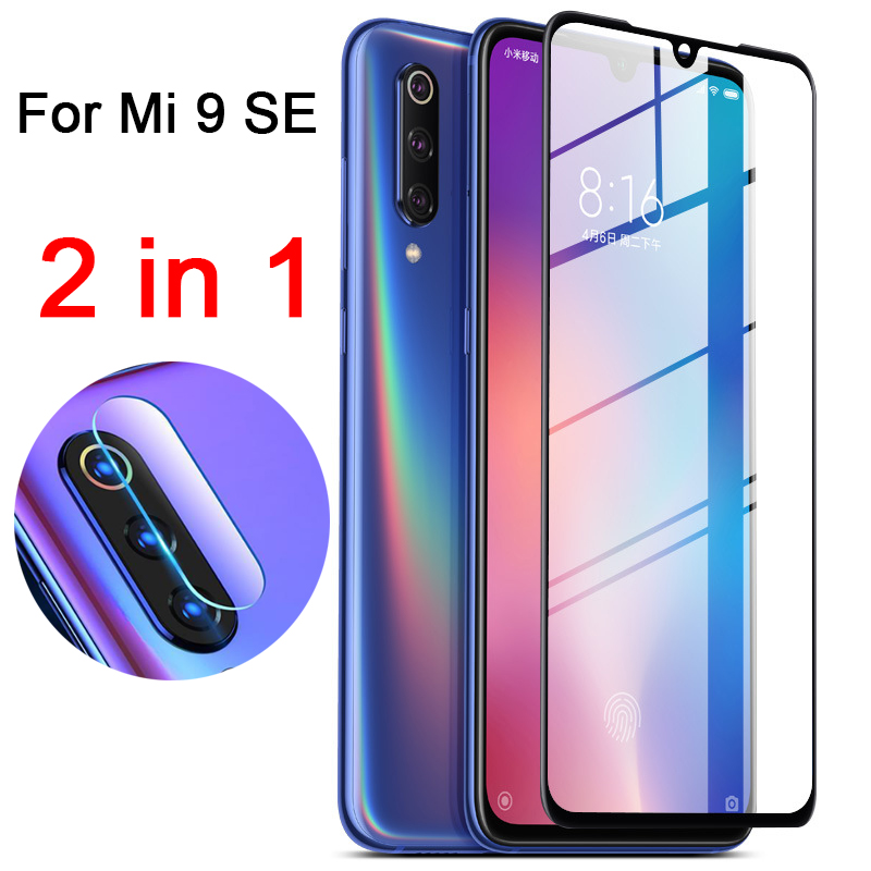 2 In 1 9D Full Protective Glass For Xiaomi Mi 9 Se Screen Camera Lens Protector On The For Xiomi Mi9 Se Mi9se 9se Tempered Glass
