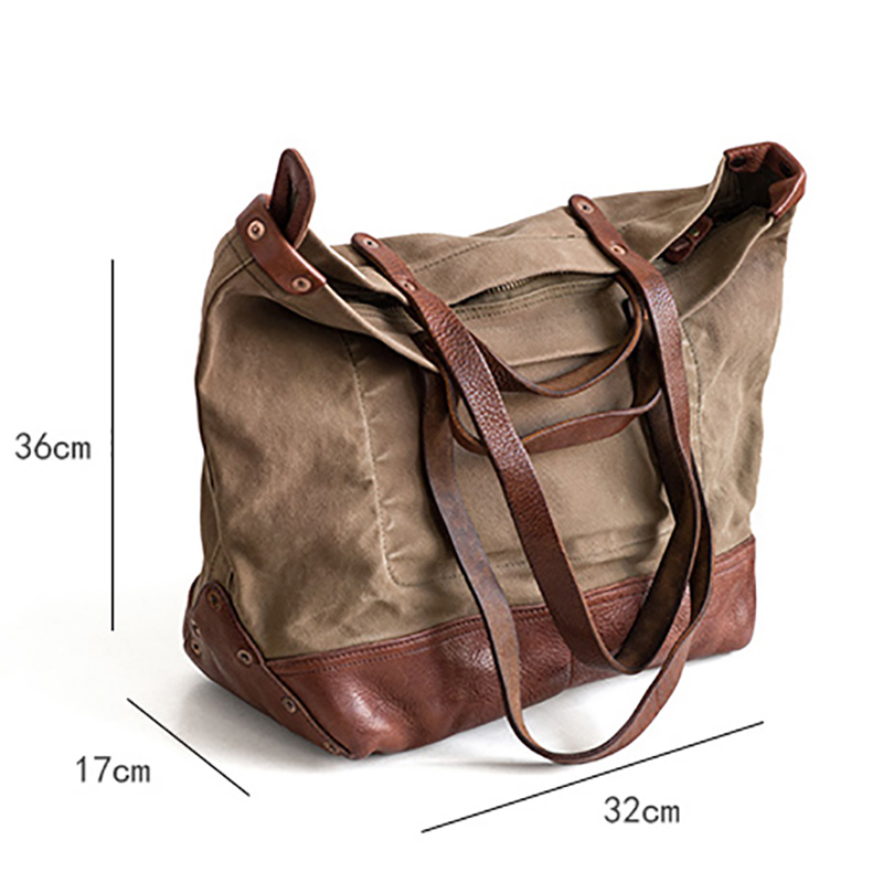 Image 5 - AETOO Street Fashion Cross pack vintage canvas Large capacity handbagTop-Handle Bags   -