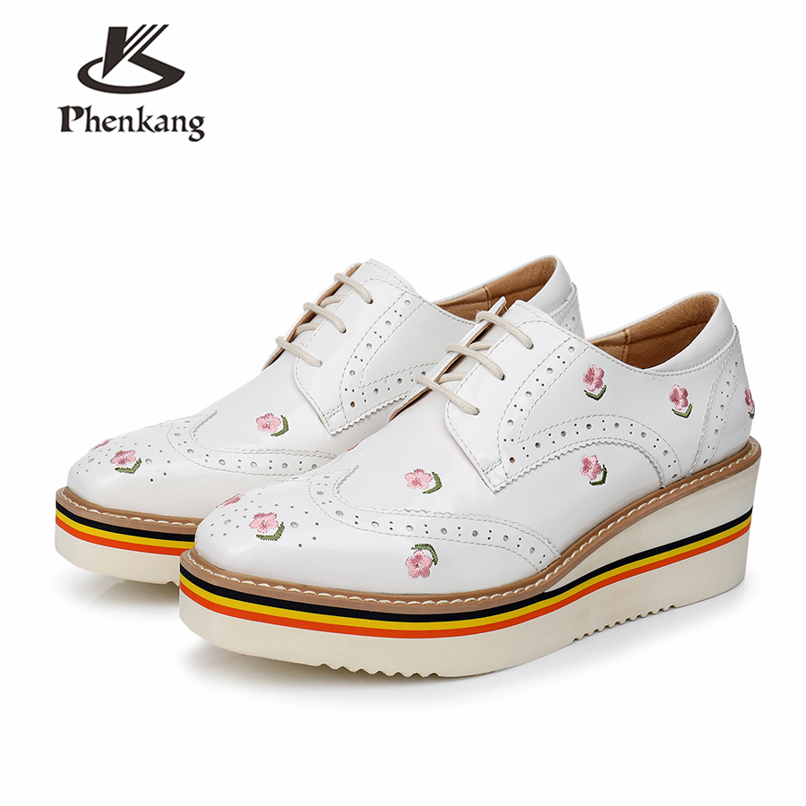 100% Genuine sheepskin leather brogue designer vintage yinzo women flats shoes handmade flat platform oxford shoes black white genuine leather woman size 9 designer yinzo vintage flat shoes round toe handmade black grey oxford shoes for women 2017