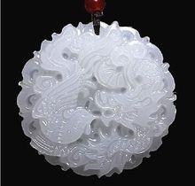 Envío Gratis>> nueva caliente Natural Afganistán jade Blanco Dragón y Phoenix colgante