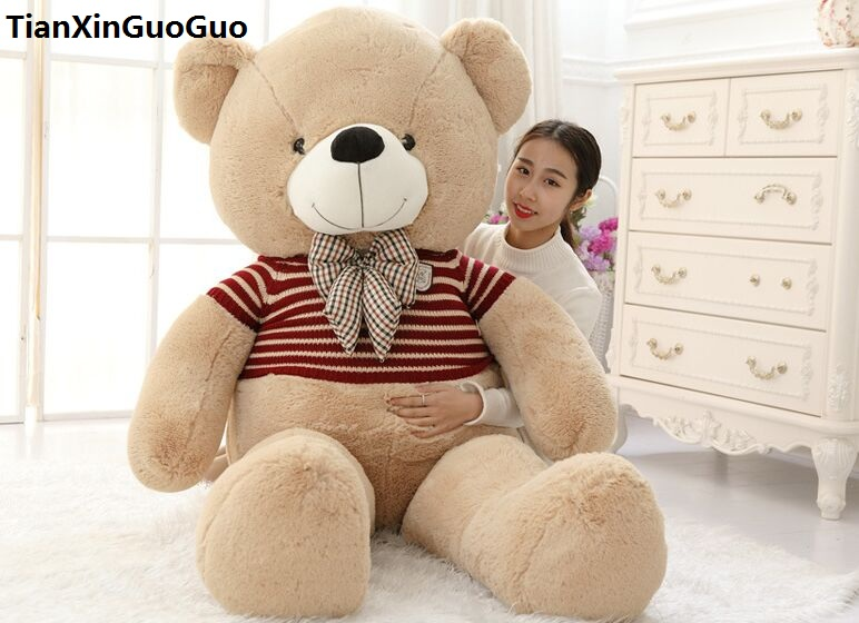 Сливочное Плюшевые игрушки огромный 180 см светло коричневый Мишка одет красный свитер медведь мягкая кукла обниматься подарок на день рожд