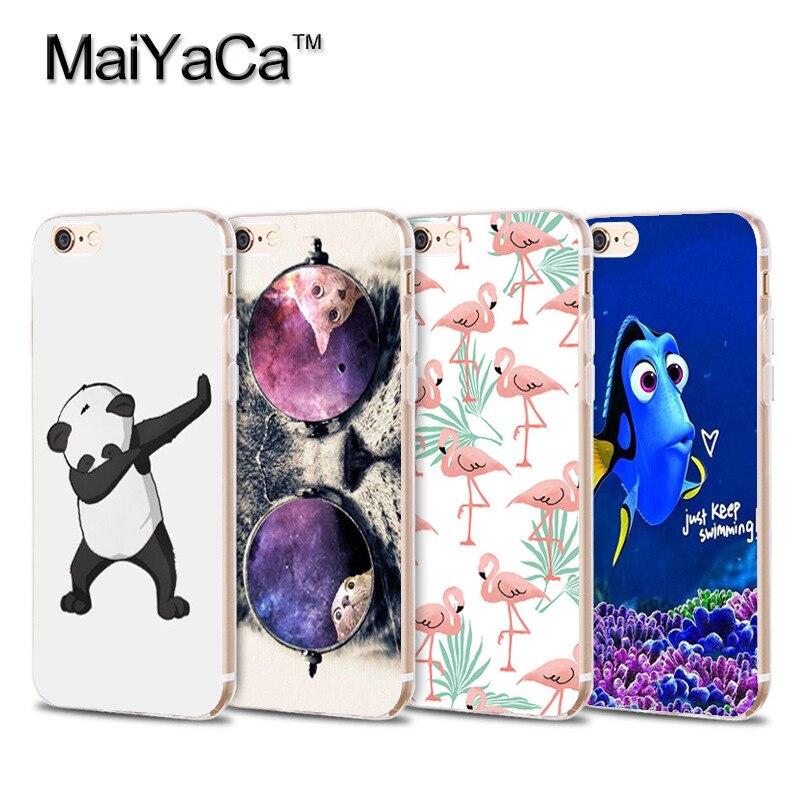Прекрасное животное Прозрачный ТПУ Soft Phone Case Аксессуары Чехол Для iphone 5s 6s 7 плюс case