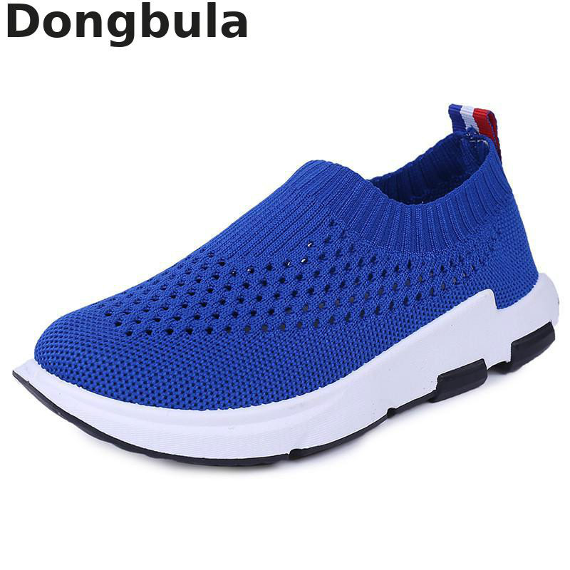 Spring New Kids Sport Shoes Children Knit Mesh Breathable Sneakers For Boys Girls Running Shoes Soft Bottom Casual Socks Shoes