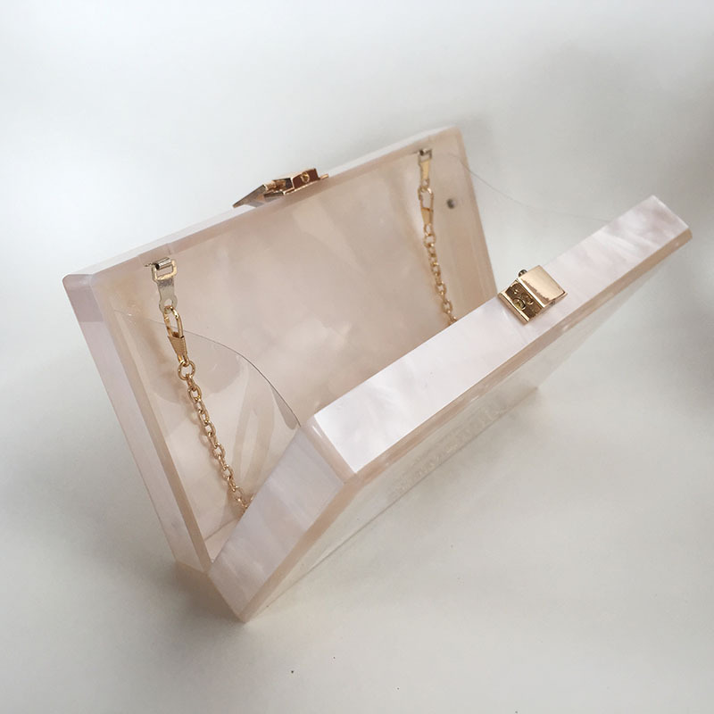 2017 Women Casual Acrylic Clutch Unique Solid Messenger Bag Transparent One  Side Lady Evening bag Wedding Bag Pearl Marble Color-in Clutches from  Luggage ... 7a30e2dac023