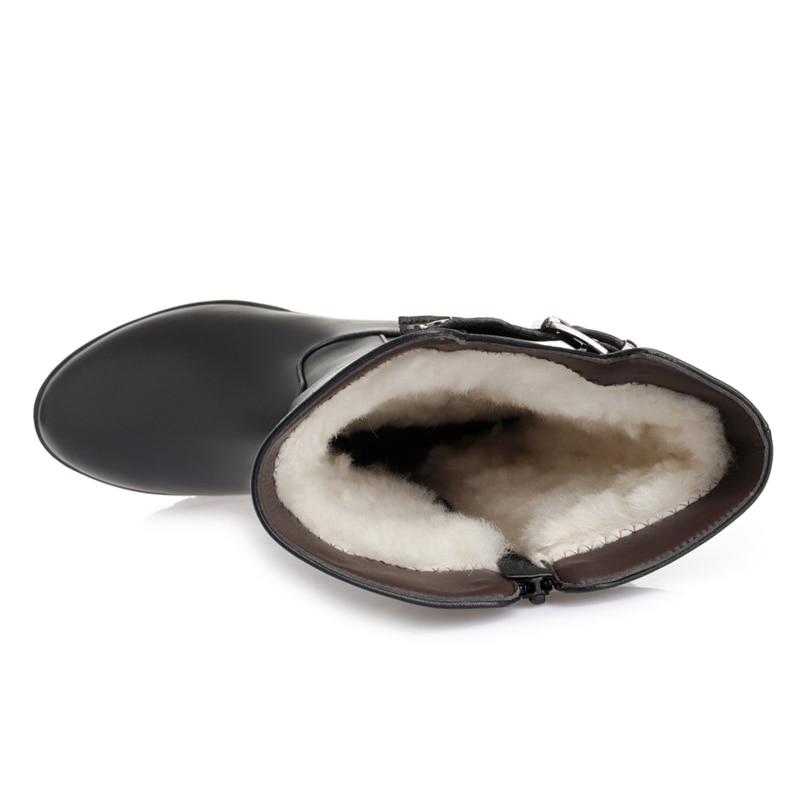 Véritable Haute Chaussures D'hiver 2018 Morazora Genou Laine Neige Bottes Naturelle Cuir Qualité Warmful Femmes Noir En Femme wFYqBS