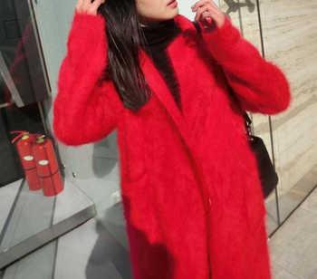Real Mink Cashmere Long Coat Genuine Mink Cashmere Sweater Warm Custom Big Size Pure True Mink Fur X Long Cardigans TBFP902