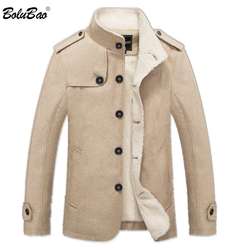 Image 2 - BOLUBAO Brand Men Wool Blend Coats 2019 Winter Fashion Men's Solid Color High Quality Coat Clothing Male Thick Warm Overcoat-in Wool & Blends from Men's Clothing
