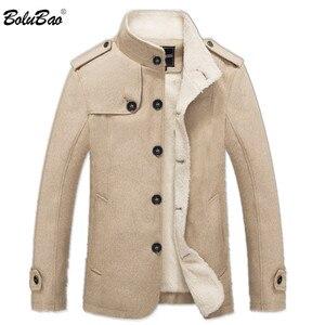Image 2 - Bolubao casaco masculino de lã, de 2020, para o inverno, cor sólida, grosso sobretudo