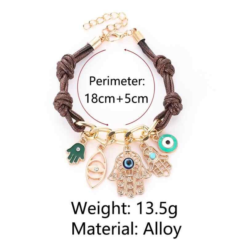 Новое поступление Шарм браслет глаза Пальма Многоэлементный Браслет Brincos Bijoux ювелирный подарок B3016