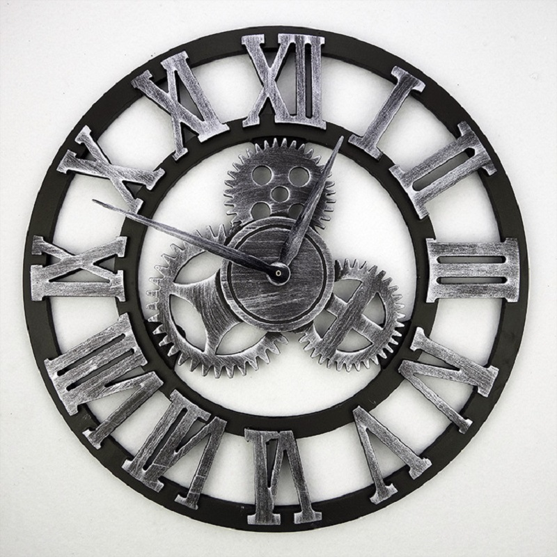 buy 2016 handmade 3d gear wall clock retro gear large vintage wall clock wooden. Black Bedroom Furniture Sets. Home Design Ideas
