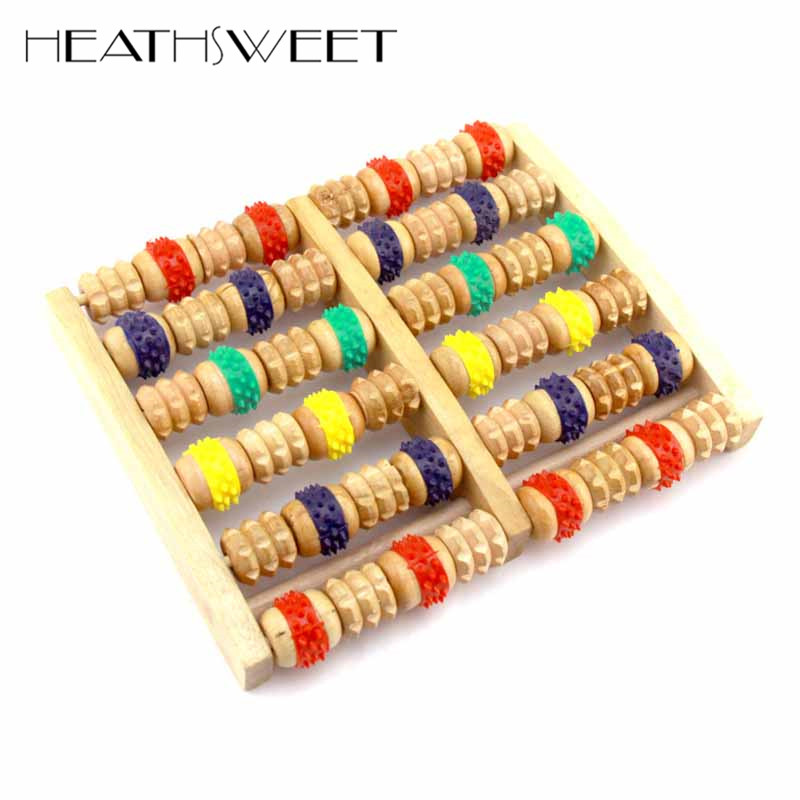 Healthsweet 1pc 6 Row Stress Relief Wooden Dual Foot Massager Colorful Roller Plantar Fasciitis Acupressure A123 видеоигра бука saints row iv re elected