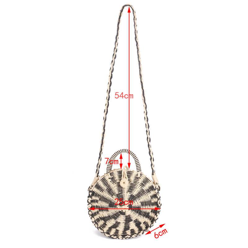 Шикарная ручная плетёная ротанговая круглая сумочка Винтажная Ретро соломенная трикотажная сумка-мессенджер сумка женская сумочка Летняя Пляжная Сумка круглая сумка