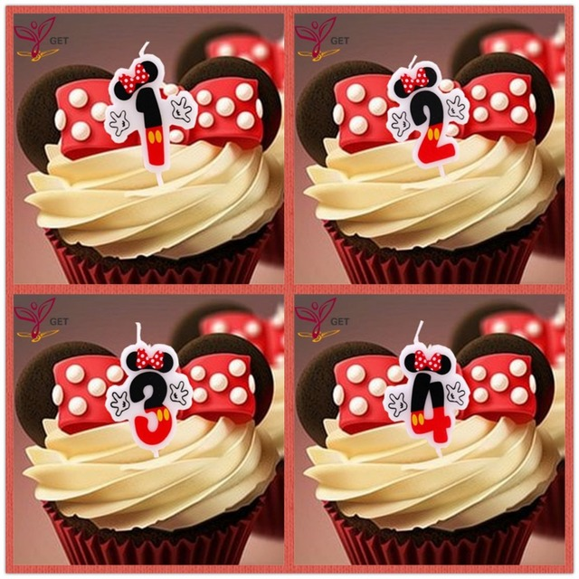 Birthday Cake Candle Mickey Mouse Party Supplies Candle 1 2 3 4