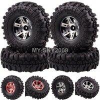 4pcs Aluminum Beadlock Wheel Rims Rock Crawler Tires Tyres 1059 7035 For 1 10 RC Buggy