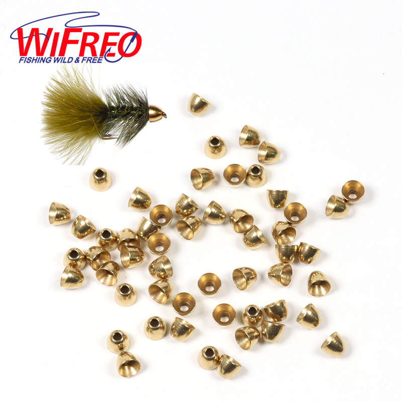 Wifreo 30PCS 5.5mm Brass Cone Head for Slamon Fishing Tube Fly Streamer Fly Trout Fishing Fly Tying Beads Material