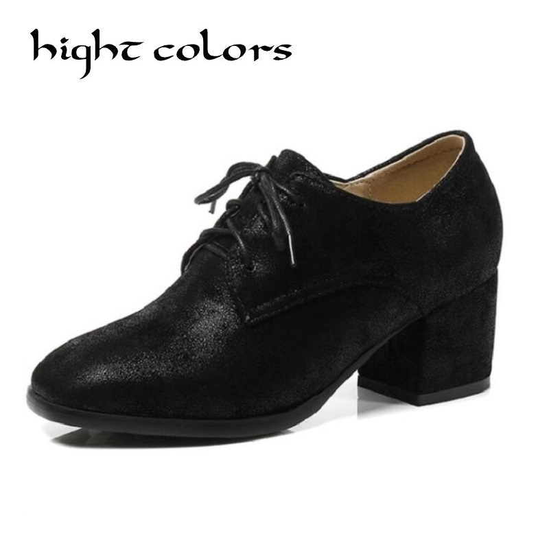 2018 Woman Pumps Square Toe Platform Lace Up Western Style Spring Shoes Square High Heels Ladies Pumps Casual Shoes Size 34-45 lace up women shoes pumps new spring autumn round toe female casual high heels casual shoes platform woman size 43