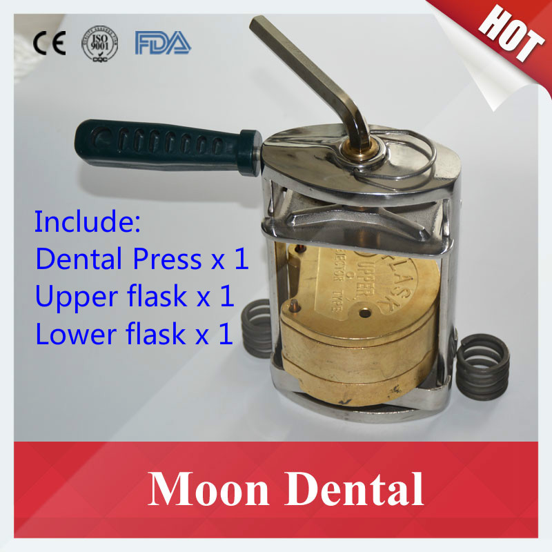 2017 Popular Dental Lab Equipment Stainless Steel Denture Molding Press with New Style Upper & Lower Dental Brass Copper Flasks 1 set dental lab equipment l m s size upper lower stainless steel impression trays for dental lab free shipping