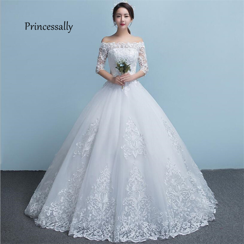 Simple Wedding Dresses Boat Neck: New Lace Wedding Dresses Sexy Boat Neck Embroidery