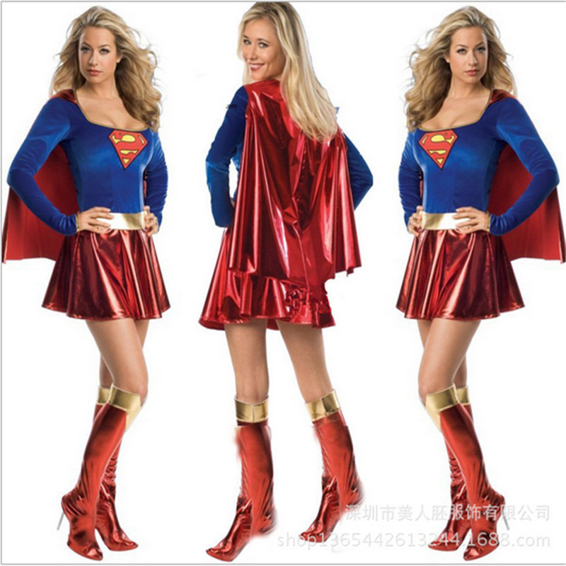 High Quality Women Supergirl Halloween Costumes Womens Cosplay Sexy Halloween Adult -9119