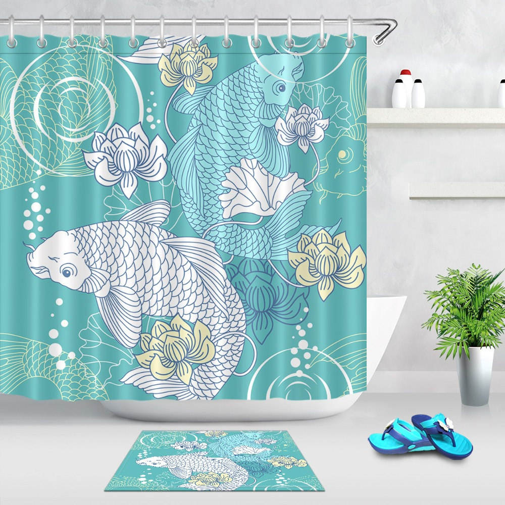 LB Abstract Koi Carp Fish Flower Blossom Extra Long Shower Curtain Liner Bathroom Nature Waterproof Fabric For Art Bathtub Decor