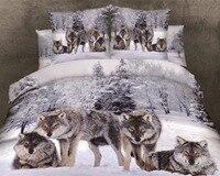Лидер продаж 100% хлопок 3D животных Leopard Роза Тигр Волк Лев постельные принадлежности простыней набор постельное белье пододеяльник комплект...