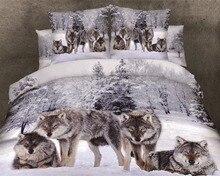 De LUJO 100% algodón 3D leopard animal tiger rose lobo león ropa de cama hoja de cama ropa de cama conjunto funda nórdica conjunto juego de cama