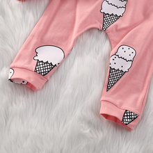Long Sleeve Ice Cream T-shirt Top +Pant 2PCS Outfit For Baby Girl