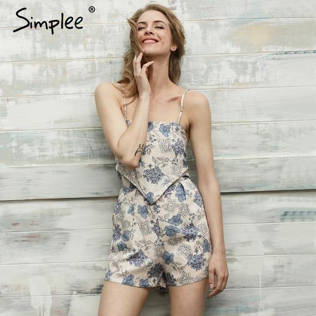 b8fce663fa4 Simplee Elegant floral print jumpsuits romper women Summer beach sleeveless  overalls leotard Backless streetwear playsuit 2017