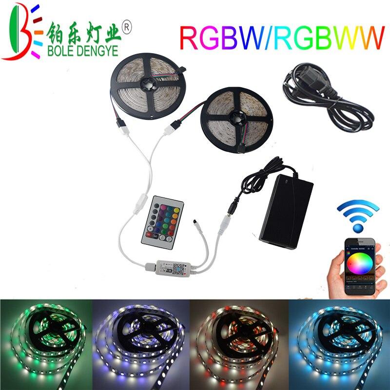 Kit de bande LED Flexible SMD 5050 300 LED s RGBW couleur changeante lumière de corde avec contrôleur sans fil WiFi, alimentation 12 V 5A
