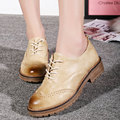 Bullock shoes lace female British college wind PU leisure and comfortable shoes retro low deep Oxford shoes export