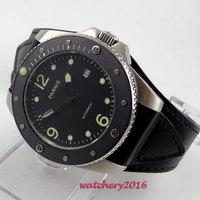 Neueste 43mm Parnis zifferblatt schwarz marks Sapphire Glas Komplette Kalender miyota automatische bewegung herren business Uhr-in Mechanische Uhren aus Uhren bei