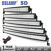 Oslamp 5D 22″ 200W 32″ 300W 42″ 400W 50″ 480W  52″ 500W Curved LED Light Bar Offroad Led Work Light Combo Beam Led Bar 12v 24v