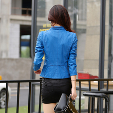 leather jacket women spring and autumn short design slim motorcycle jacket  vintage casual  leather jackets and coats m-5xl 930