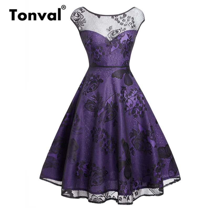 39dd47d5a1328 Tonval Purple Elegant Floral Lace Outside Dress Women Cap Sleeve Fit and  Flare A Line Dress Night Out Party Dresses