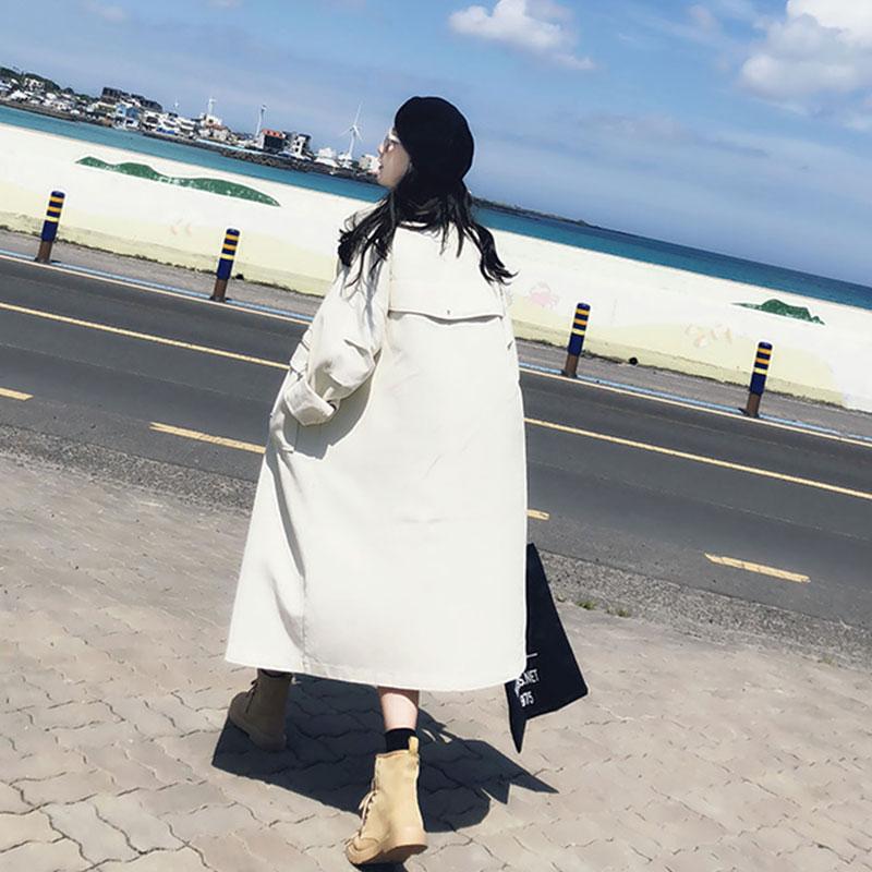 520 Oversize Nouveau Sur Femmes Trench Black Harajuku Manteau Bf Denim Genou Coupe Long 2019 coat Automne Printemps white vent Lâche Décontracté UxZq84S