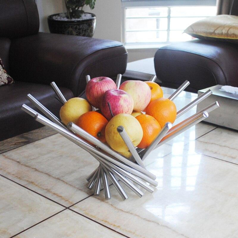 Assiette à fruits créative en acier inoxydable | Panier à fruits da Vinci, ornements de ménage européens panier à fruits, colis courrier CL12092