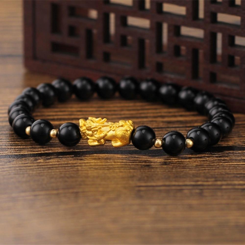 Bracelet en or jaune pur 24 K 3D Pixiu 18 K perle en or jaune Agate noire femmesBracelet en or jaune pur 24 K 3D Pixiu 18 K perle en or jaune Agate noire femmes