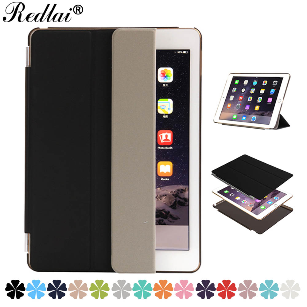 Case For iPad Air 2,Redlai PU Leather Front Flip Auto Sleep Wake Smart Case Cover Hard Frosted Back Cover For iPad Air 2/ iPad 6 pu leather ebook case for kindle paperwhite paper white 1 2 3 2015 ultra slim hard shell flip cover crazy horse lines wake sleep