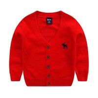 Boys And Girls V V Neck Cardigan Deer Embroidery Sweater