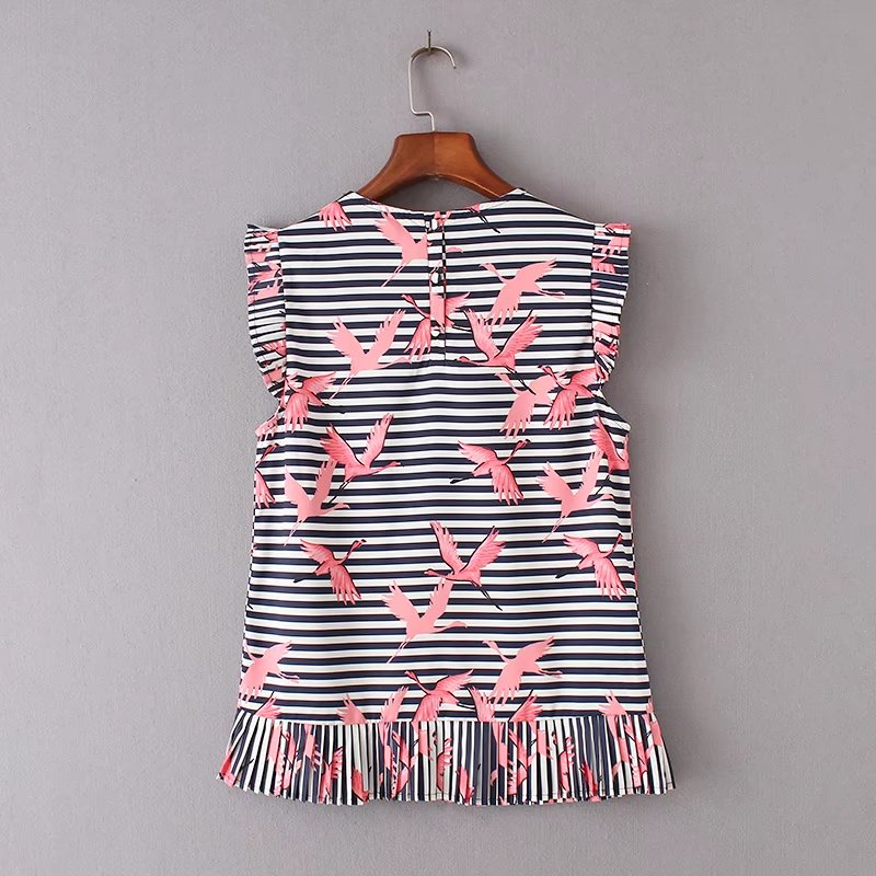 HTB1bRSiRVXXXXbVXpXXq6xXFXXX3 - Women vintage vestidos striped crane printed pleated blouses shirt