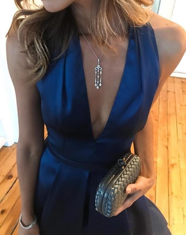 Marine Haute Abendkleider Soirée V Longue Col Robe Dos Royal 2017 Robes Bleu Profond Nu Fendue Sexy Formelle De Longo 8P8wUrq