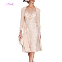 Light Pink Women's Mother of The Groom Dresses Tea Length Lace Mother of the Bride Dress with Jacket Formal Evening Gowns