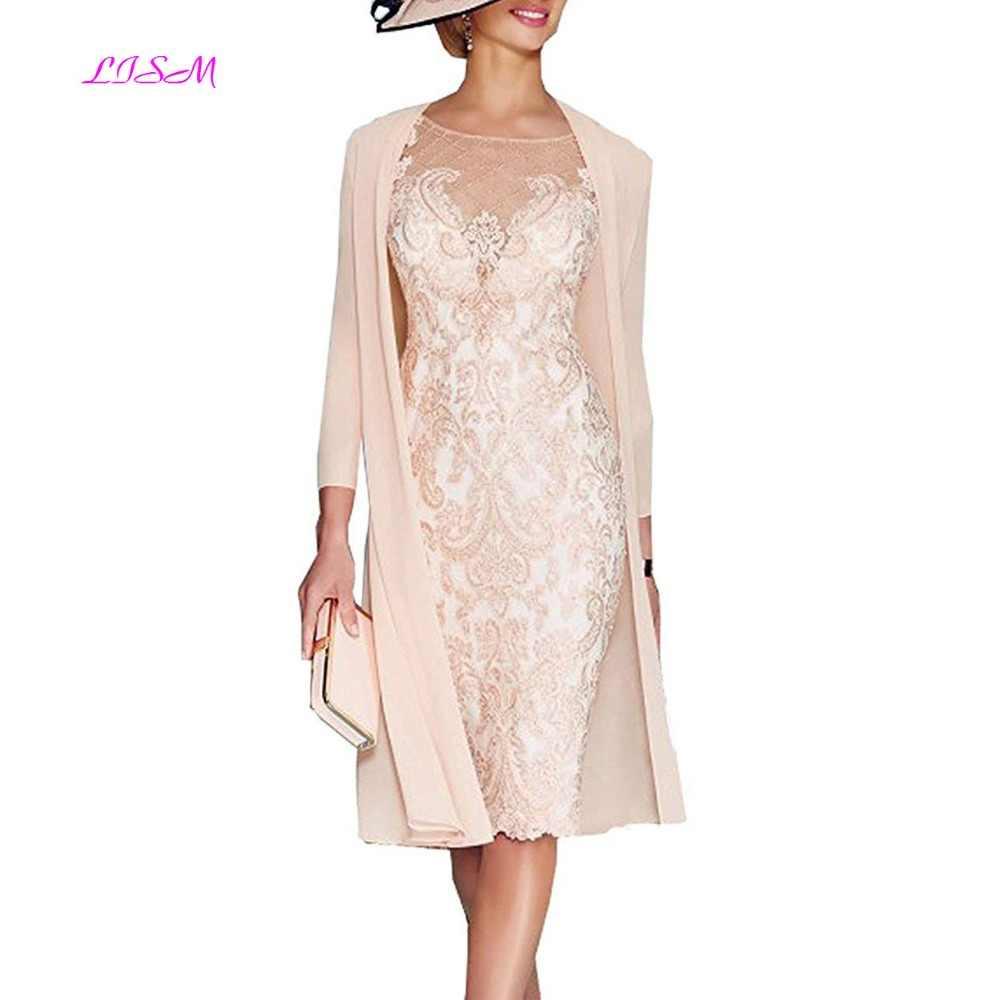 Luz rosa de las mujeres de la madre de novio vestido para té, longitud de vestido de la madre de la novia con chaqueta Formal vestidos de noche