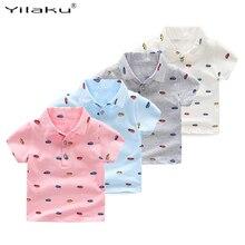 Yilaku Jungen Polo Shirt Baumwolle Kurzarm Kinder Sommer Polo Shirt Cartoon Auto Umlegekragen Jungen Kleidung Weiß Grau CG340