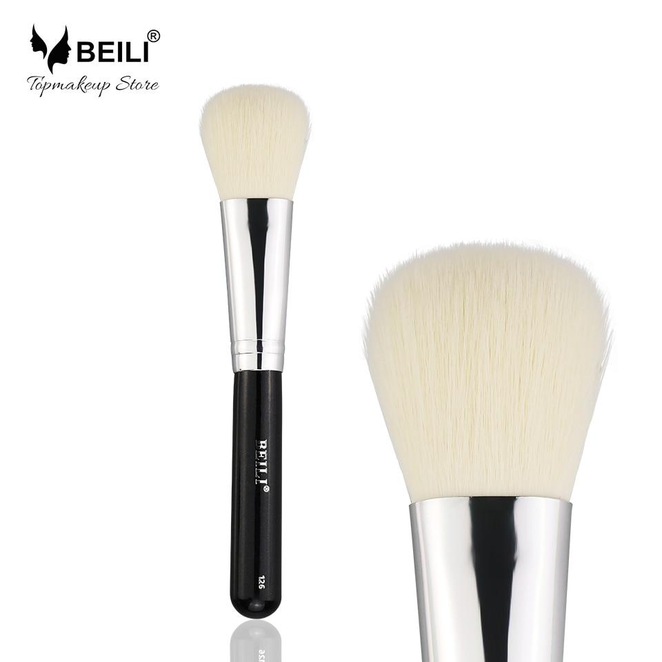 BEILI 1Piece Black 126 Synthetic Hair Blusher Powder Single Cosmetic Vegan Makeup Brushes beili single 104 flat kabuki single synthetic hair face для умывальника румяна черная макияжная кисть