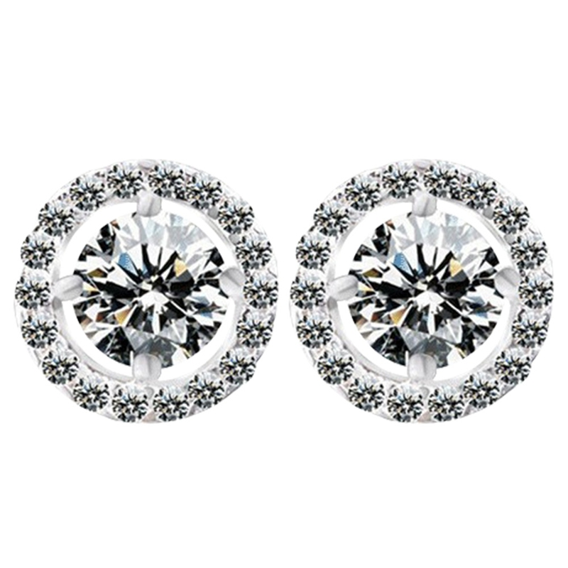New Fashion Classic Round Full Zircon Stud Earrings For Women Party Gift Crystal Earrings Fashion Jewelry