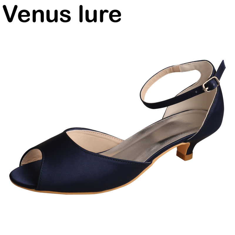best online incredible prices new high Custom Low Heel Navy Blue Sandal Women Wedding Open Toe Ankle ...